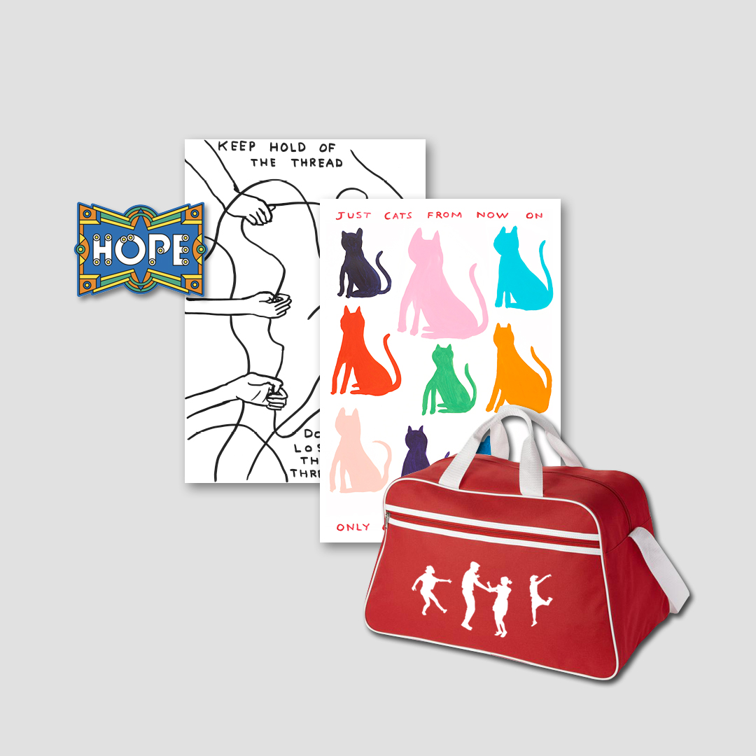 An exciting bundle of three rewards: Melanie Manchot's retro dance bag, David Shrigley's set of two tea towels and Supermundane's Hope patch