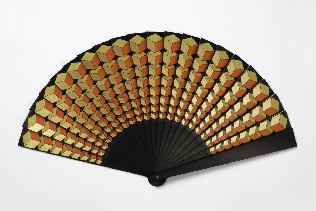 Geometric Pleats Sipo wood fan, the paper leaf painted with a bold geometric design.  Annatomix / Sylvain Le Guen, 2017 The Fan Museum Trust Collection