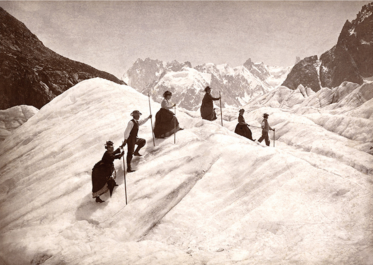 Ladies and guides on the Mer de Glace, Mont Blanc, F&G Charnaux, 1886