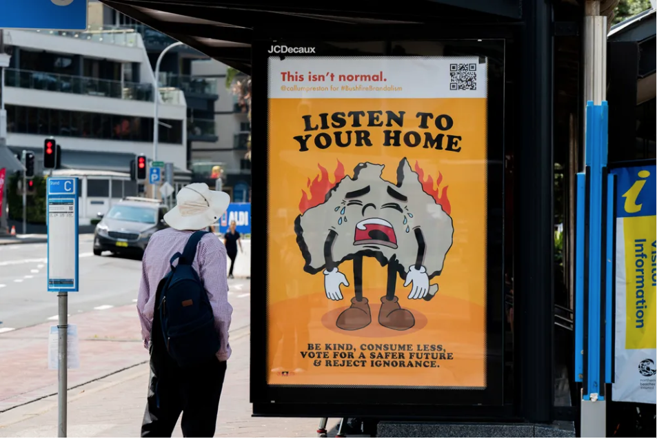 One of the protest posters created during the recent Australia bushfires