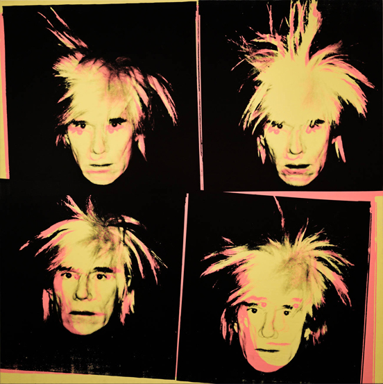 Andy Warhol, self portrait, 1986 silkscreen ink on canvas, © Alamy