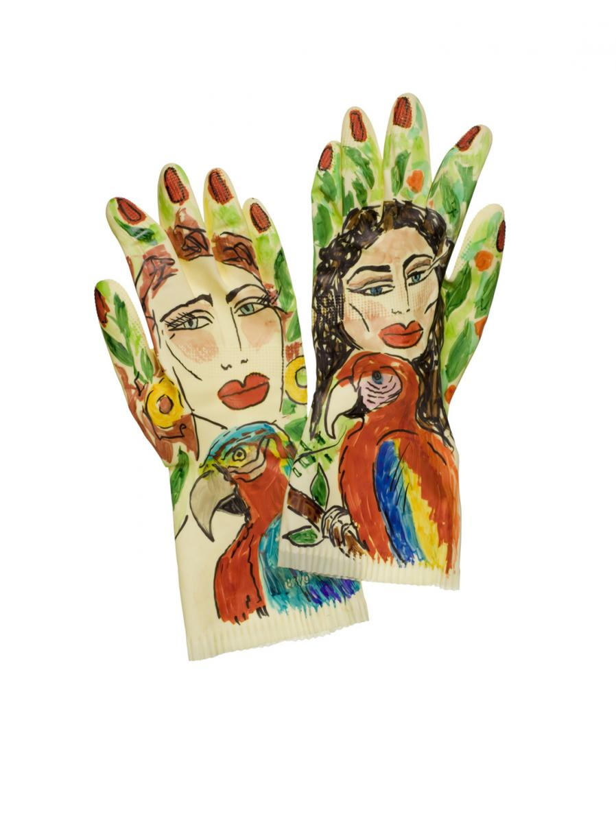 Wilma Johnson, limited edition washing-up gloves, unique in a series, courtesy of the artist and Studio Voltaire, Credit Graham Pearson
