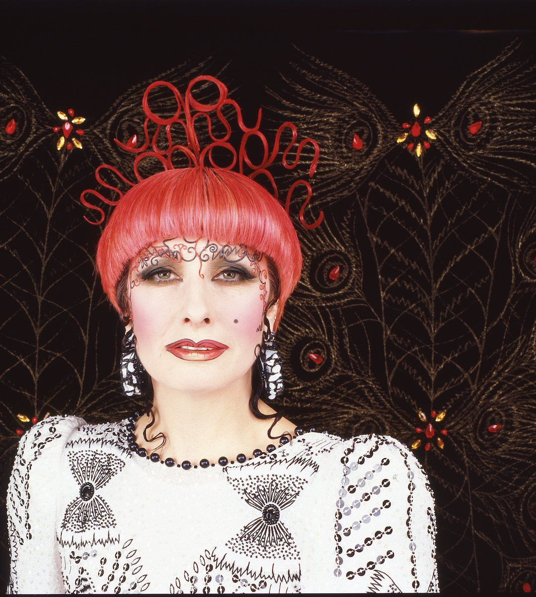 Zandra Rhodes photo for the poster for the SS 1986 'Spanish Impressions' collection. Photograph by Robyn Beeche
