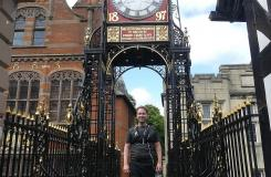 Dr Florian Schweizer at the Eastgate Clock on Chester City Walls