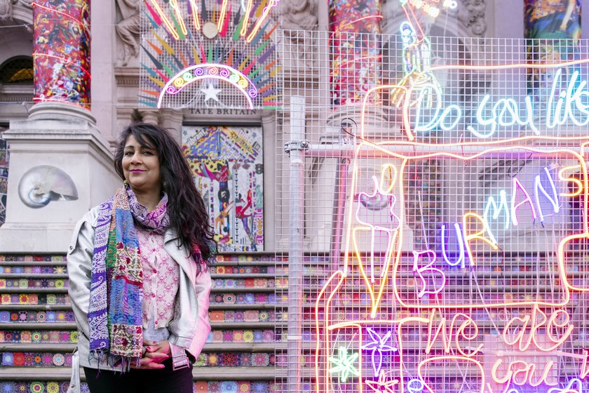 The artist in front of her installation at Tate Britain. Photo: © Tate 2020/Joe Humphrys
